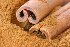 Ground cinnamon and whole sticks Stock Images