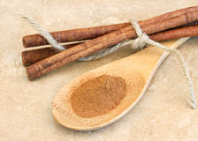 Ground cinnamon on wooden spoon Stock Images