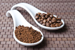 Ground cofee and beans Stock Photography