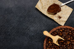 Ground Coffe and Beans with Copy Space Area royalty free stock photos
