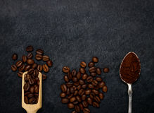 Ground Coffe and Beans with Copy Space Area Stock Images