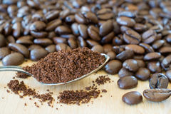 Ground coffe in a spoon and cofee beans. Stock Photos