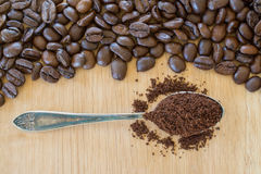 Ground coffe in vintage spoon and cofee beans. Stock Photography