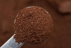 Ground coffee. Scoop of ground coffee grinds for espresso machine royalty free stock photos