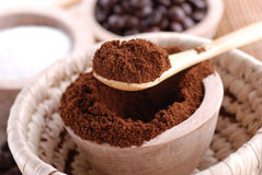 Ground coffee. In wooden bowl royalty free stock photos