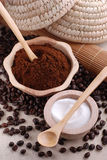 Ground coffee. In wooden bowl stock image