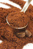 Ground coffee and beans Royalty Free Stock Image
