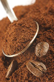 Ground coffee and beans Stock Photos