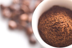 Ground coffee and beans  Stock Image
