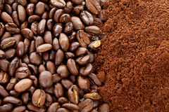 Ground coffee and beans in closeup Stock Photos
