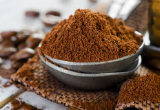 Ground coffee. And beans.Selective focus royalty free stock photo