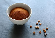 Ground coffee in a bowl Royalty Free Stock Photos