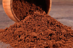 Ground coffee in a bowl Stock Images
