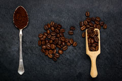 Ground Coffee and Brown Beans Stock Images