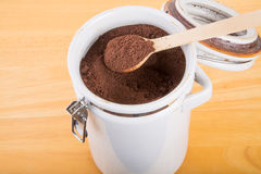Ground Coffee in a Ceramic Canister Stock Images