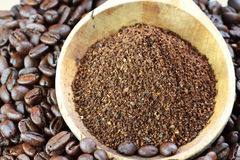 Ground Coffee and Coffee Beans Royalty Free Stock Photos