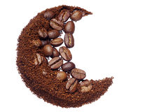 Ground coffee and coffee beans Stock Image