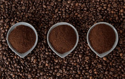Ground coffee on coffee beans. Ground coffee in small cups on coffee beans Stock Photos