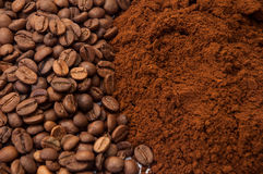 Ground coffee and coffee beans in the background Stock Photos