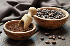 Ground coffee and coffee beans Stock Photos