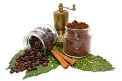 Ground coffee and coffee beans in glassy bowls, cinnamon and coffee grinder on green leaves Stock Photo