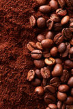 Ground coffee with coffee beans Stock Images
