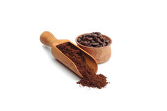 Ground coffee and coffee beans. On white background stock photos