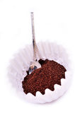 Ground coffee in the coffee filter Stock Photography