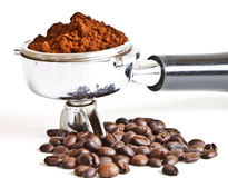 Ground coffee in filter holder Stock Images
