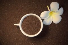 Ground coffee and flower Royalty Free Stock Image