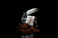 Ground coffee in a glass jar Royalty Free Stock Photo