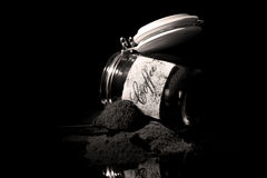 Ground coffee in a glass jar Royalty Free Stock Image