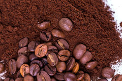 Ground coffee and grain Stock Photos