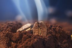 Ground coffee and grains macro shot. Smoke from freshly roasted coffee beans.  stock photos