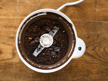 Ground coffee in grinder Stock Photography
