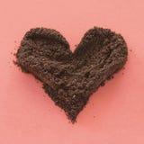 Ground coffee heart Royalty Free Stock Photos