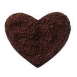 Ground coffee heart isolated on white background close up Royalty Free Stock Photos