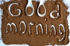Ground coffee. The inscription on the ground coffee good morning stock photos