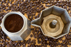 Ground coffee in moka pot. Royalty Free Stock Photography