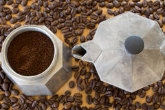 Ground coffee in moka pot. Stock Photo