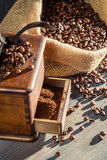 Ground coffee in an old fashioned grinder Stock Photography