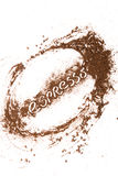 Ground coffee paint. Paint with ground coffee on white table royalty free stock photo