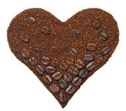 Ground coffee in the shape of heart Stock Photos