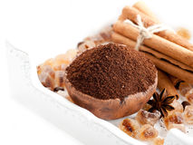 Ground coffee, sugar and spices Royalty Free Stock Image