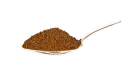 Ground coffee in teaspoon Stock Images