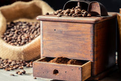 Ground coffee in vintage grider Royalty Free Stock Images