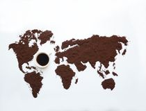 Ground coffee and the World royalty free stock photos