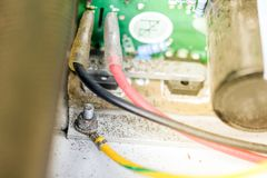 Ground connection of electrical equipment Stock Photos