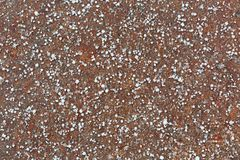 Ground covered with small Graupel, Soft hail, Snow pellets Stock Photo