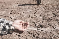 The ground cracks caused by drought caused by water shortages royalty free stock images